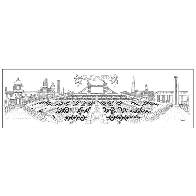 Diamond Jubilee Flotilla - LIMITED EDITION PRINTS Printed in the UK, using the highest quality archival paper and highest quality inks. Sizes available: 700 mm x 220 mm. Edition of 60