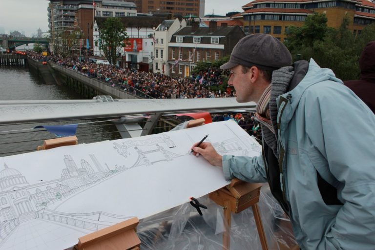 Rob Pepper at the Diamond Jubilee Flotilla drawing from the centre of the Millenium Bridge