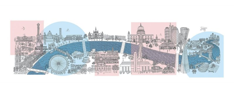 GEOMETRIC LONDON - LIMITED EDITION PRINTS Printed in the UK, using the highest quality archival paper and highest quality inks. Sizes available: Large – 1500 mm x 430 mm. Edition of 50 Medium – 610 mm x 220 mm. Edition of 250