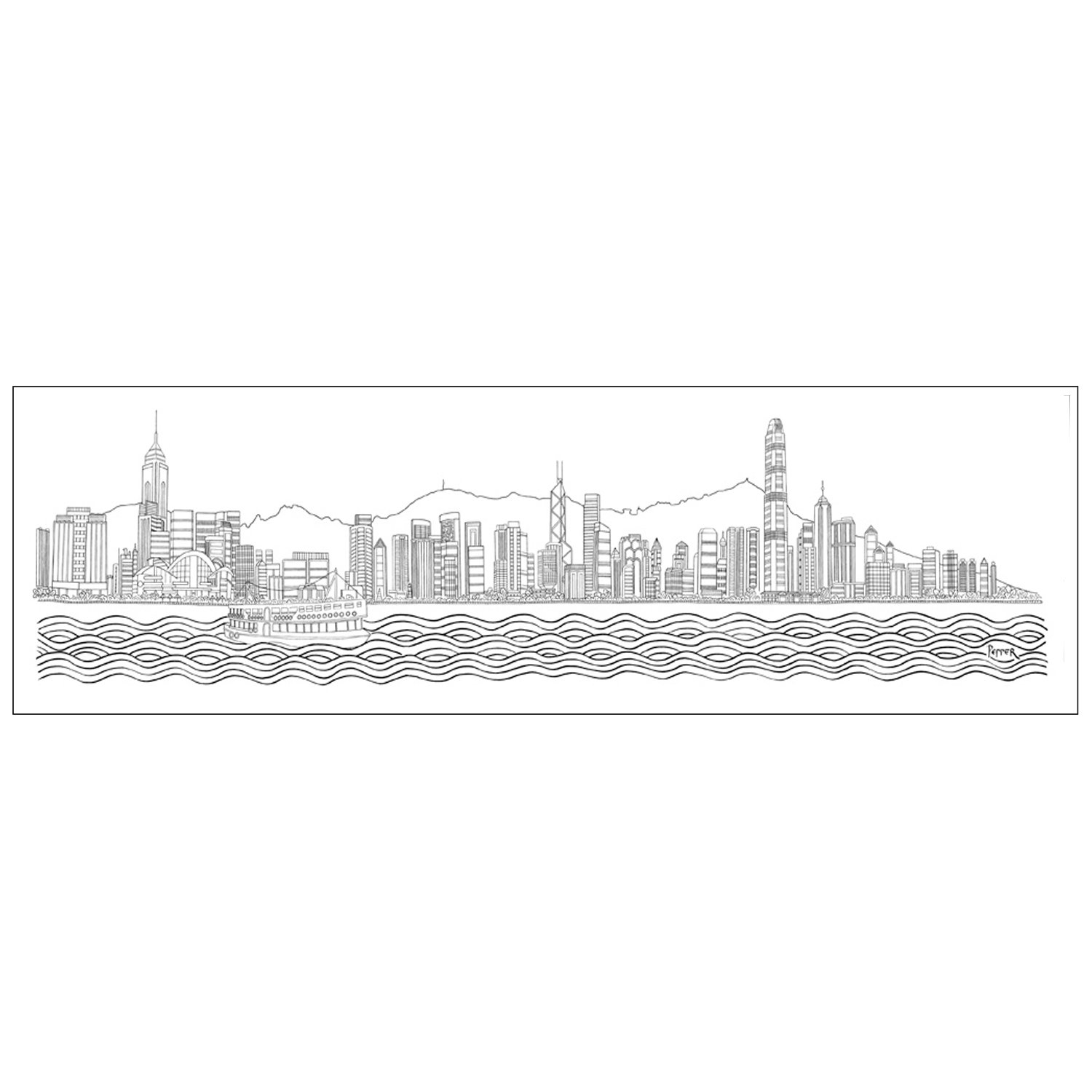 HONG KONG SKYLINE - Drawing by Rob Pepper
