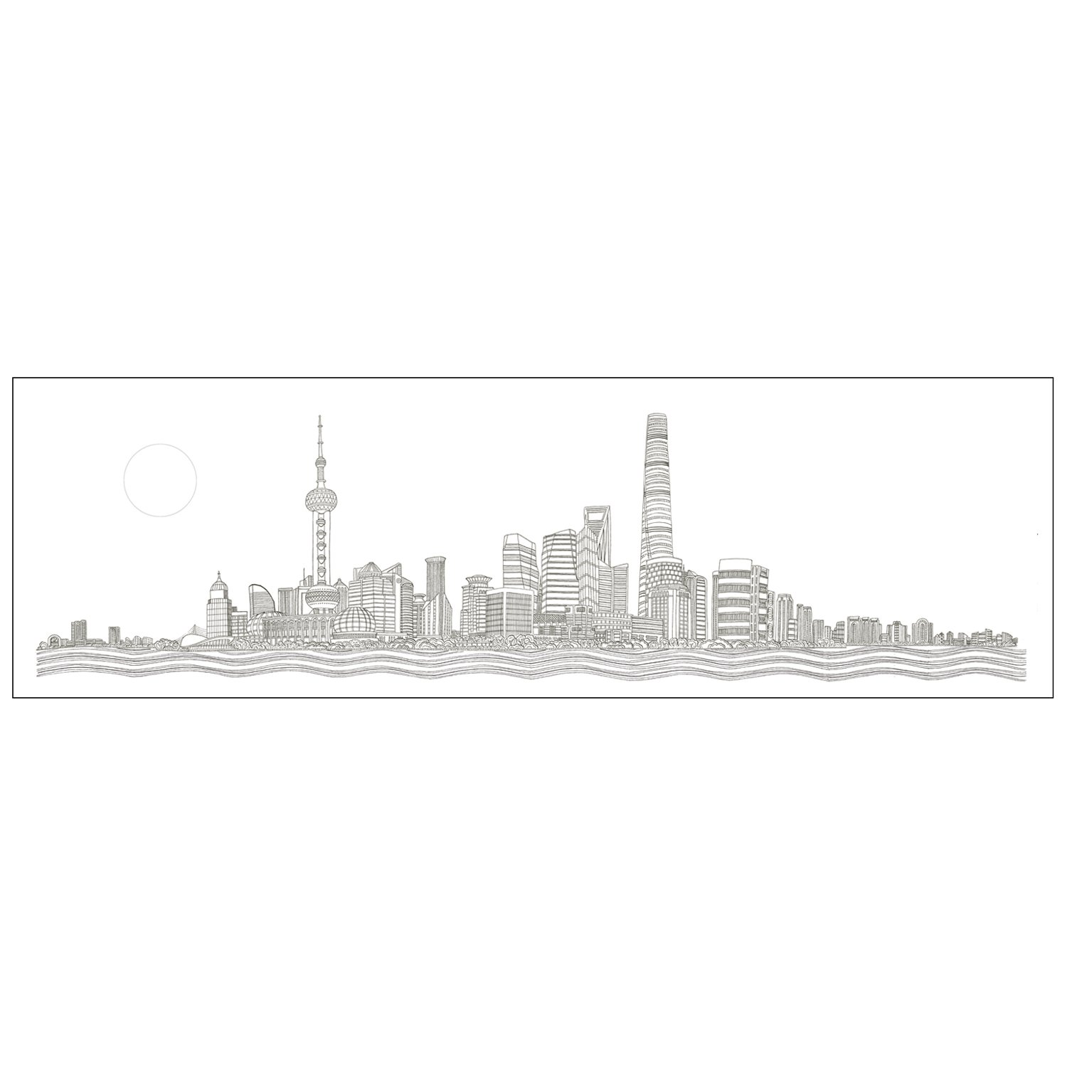 SHANGHAI SKYLINE - LIMITED EDITION PRINTS Printed in the UK, using the highest quality archival paper and highest quality inks. Sizes available: Large – 1500 mm x 430 mm. Edition of 50 Medium – 610 mm x 220 mm. Edition of 250