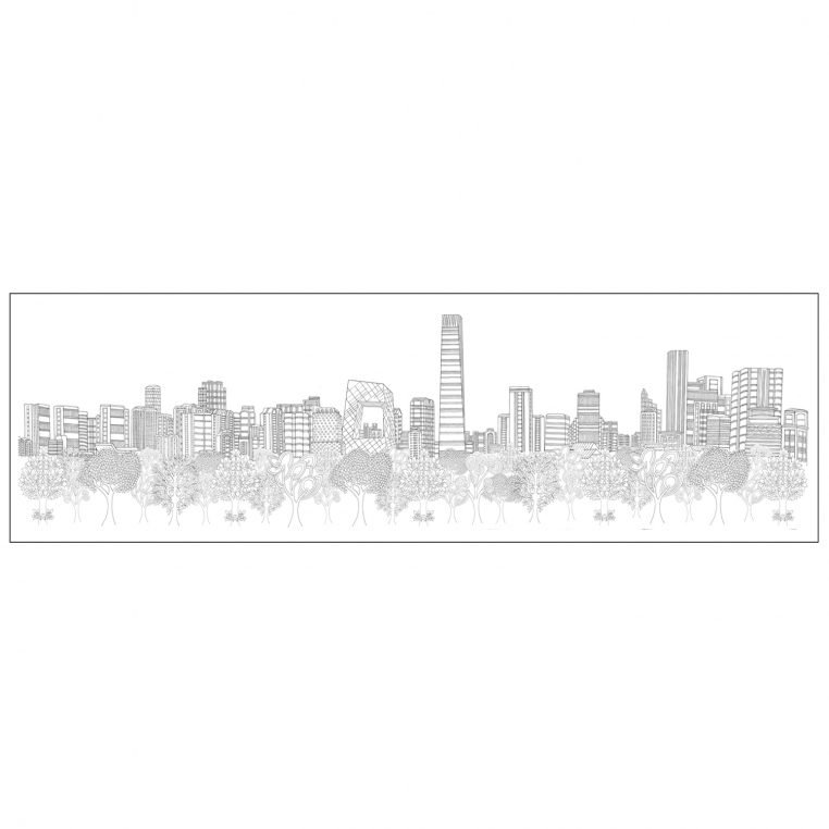 BEIJING SKYLINE - LIMITED EDITION PRINTS Printed in the UK, using the highest quality archival paper and highest quality inks. Sizes available: Large – 1500 mm x 430 mm. Edition of 50 Medium – 650 mm x 220 mm. Edition of 250