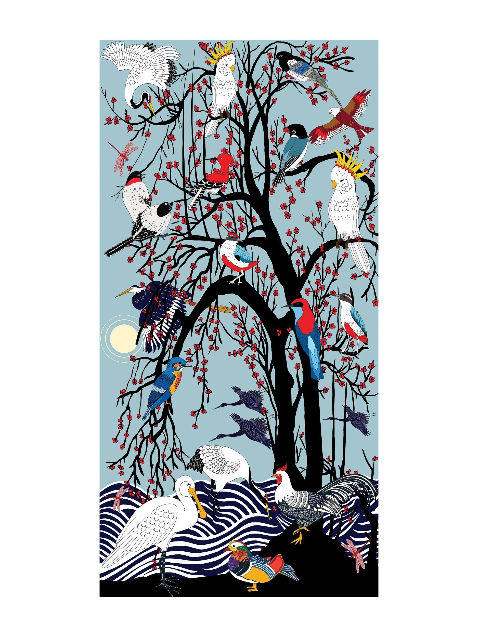 Birds of China - Oil on canvas, 2019 Painting available: 140cm x 70cm ¥89950 Limited edition print:40cm x 80cm ¥6500 Limited edition print: 20cm x 40cm ¥1600