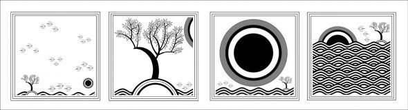 Book illustrations: Elemental (L-R) Air; Earth; Fire; Water