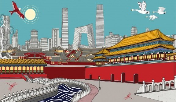 The Tale of the Forbidden City, Beijing Acrylic and pigment on canvas, 2019 - 230cm x 130cm - ¥188000 Limited edition print:10c5m x 60cm ¥6500
