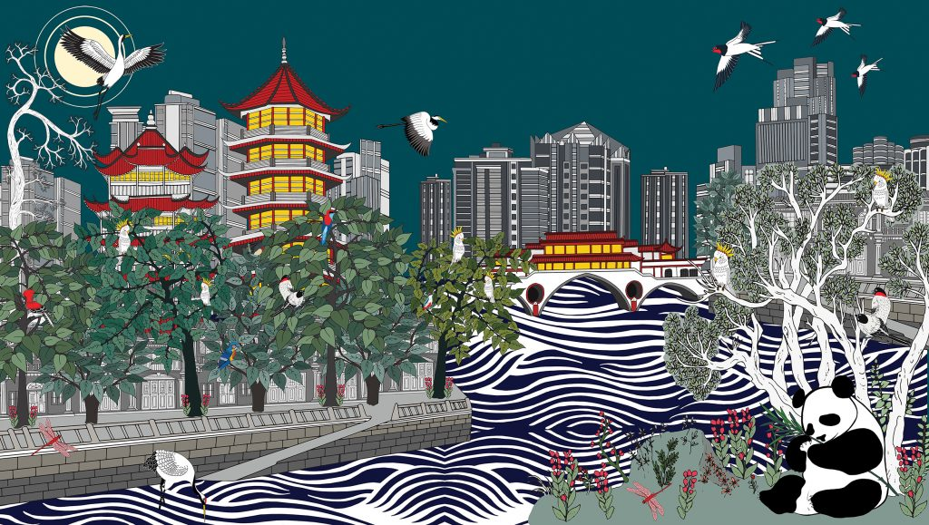 The Tale of the Jin River, Chengdu Acrylic and pigment on canvas, 2019 - 230cm x 130cm - SOLD Limited edition print:105cm x 60cm ¥6500