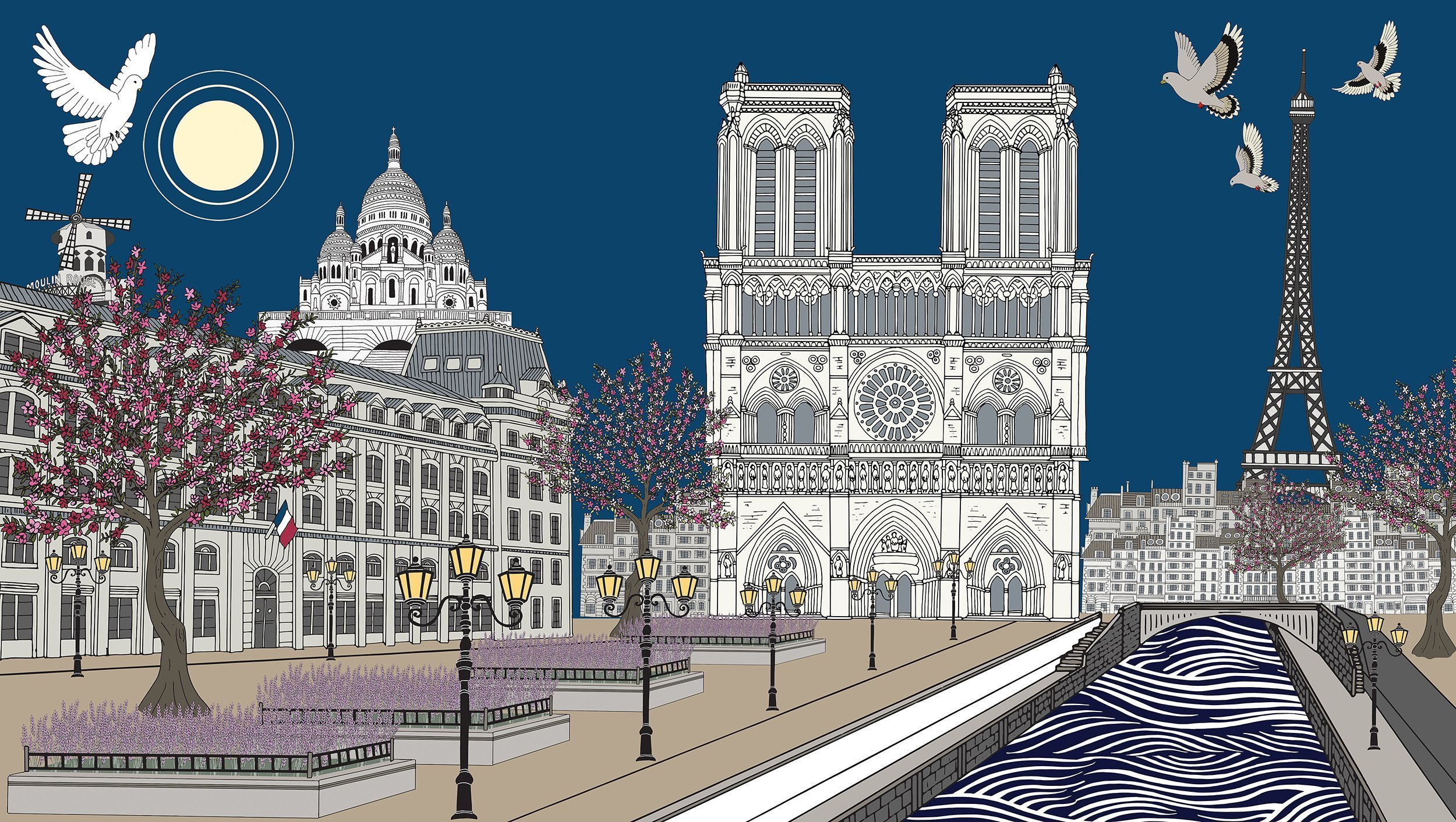 The Tale of Notre-Dame de Paris Acrylic and pigment on canvas, 2019 - 230cm x 130cm - ¥188800 Limited edition print:105cm x 60cm ¥6500