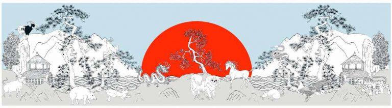Year of the Dog Blue - Limited edition prints: 150cm x 43cm -¥8500 | 60cm x 20cm - ¥1800