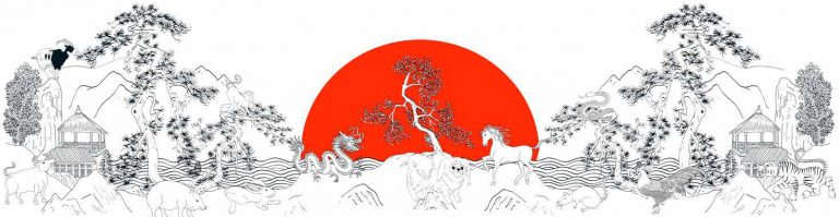 Year of the Dog Red - Limited edition prints: 150cm x 43cm -¥8500 | 60cm x 20cm - ¥1800