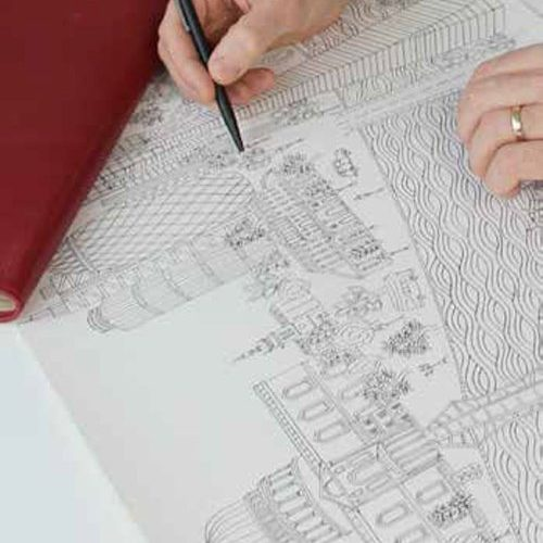Rob starts each artwork with a drawing. Using pen and ink, he creates a work that captures the iconic cities in an intimate way, often integrating nature into the architectural heritage of the cities.